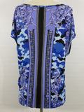 VERSACE COLLECTION Women Blue Multi Color Print Short Sleeve Top Blouse Shirt 40