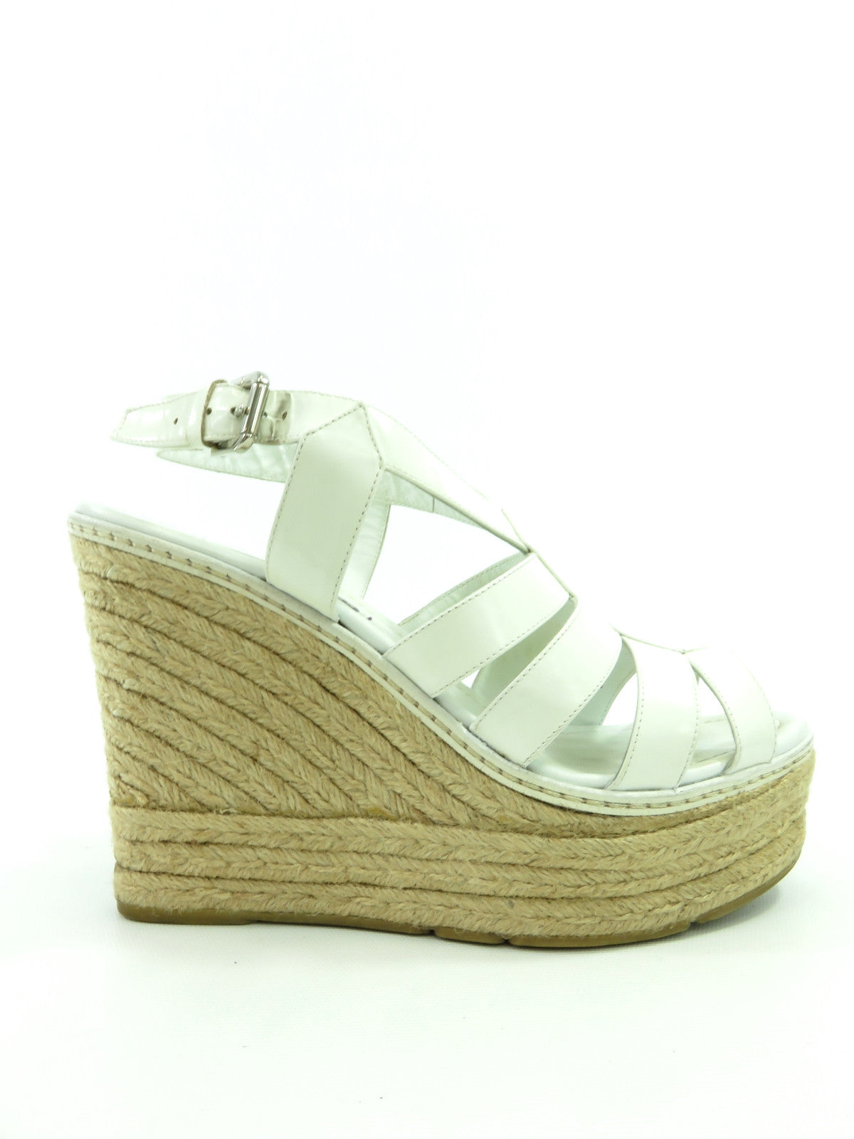 8d44c387081 RALPH LAUREN Women White Leather Wedge Platform Espadrilles Sandals Shoes  Size 9.5. Ralph Lauren Lorena s Worth