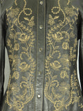 NEW FRONTIER Women Black Leather Floral Embroidery Shirt Jacket Size M