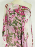 NEW! MARCHESA Women Layered One Shoulder Caftan Pink White Green Floral Dress 4