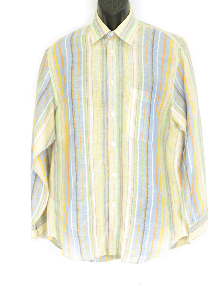 BRIONI Men Blue Orange Yellow Green Off White Stripes Long Sleeve Button Down Shirt M