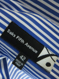 NEW! SAKS FIFTH AVENUE Men Blue White Stripes Long Sleeve Button Down Shirt Size 42