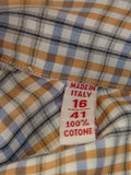 NEW! ISAIA NAPOLI Men Multi Color Check Pattern Button Down Shirt Size 41