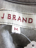 J BRAND Women Black Gray Denim Jeans Jacket Leather Sleeves Size M