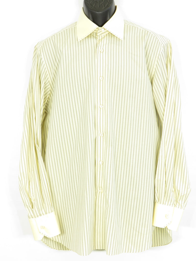 STEFANO RICCI Men Yellow Black White Diamond Long Sleeve Button Down Shirt