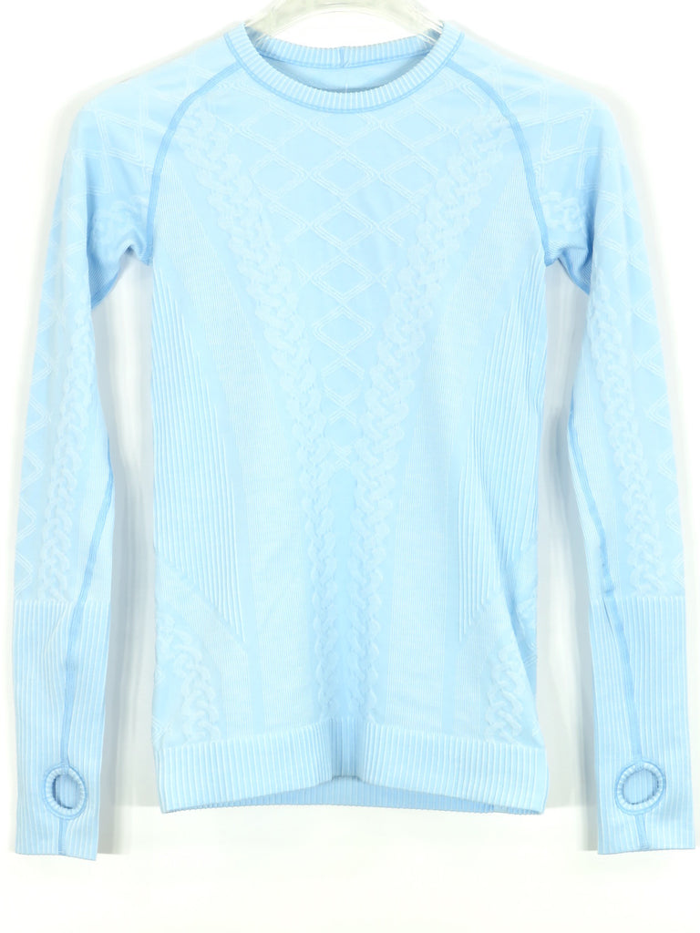 Lululemon athletica women light blue athletic sports wear for Long sleeve sports shirt