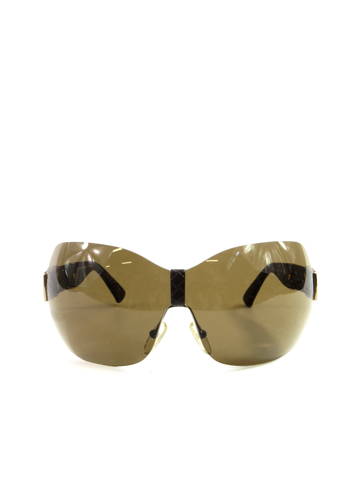 0a7c758fa0a NEW! FENDI Women SUNGLASSES Brown Gold Leather Braided Accents Framele