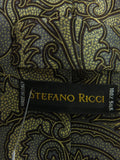 STEFANO RICCI Men Gold Silver Brown Paisley Pattern Silk Neck Tie