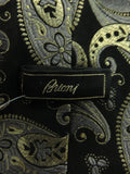 BRIONI Men Black REAL 24K Gold Thread Silver Paisley Pattern Neck Tie Accessory