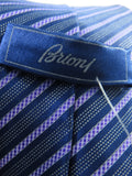BRIONI Men Blue Lavender Stripes Luxurious Silk Neck Tie Accessory