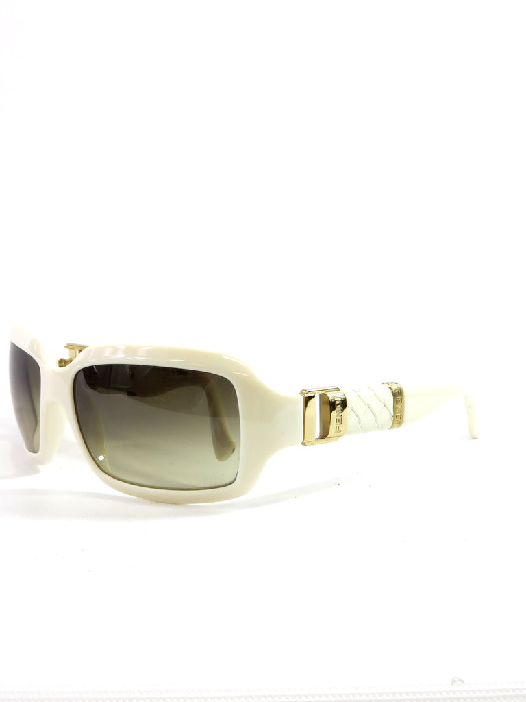 c7014b0cc83 NEW! FENDI Women SUNGLASSES Ivory Off White Gold Leather Accents