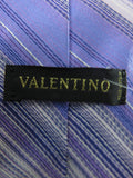 VALENTINO Men Purple White Blue Lavender Stripes Silk Neck Tie Accessory