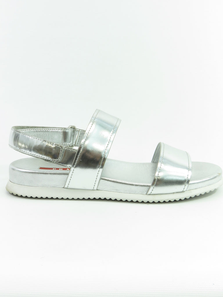 PRADA Women Silver Leather Straps Sandals Flats Shoes Size 36