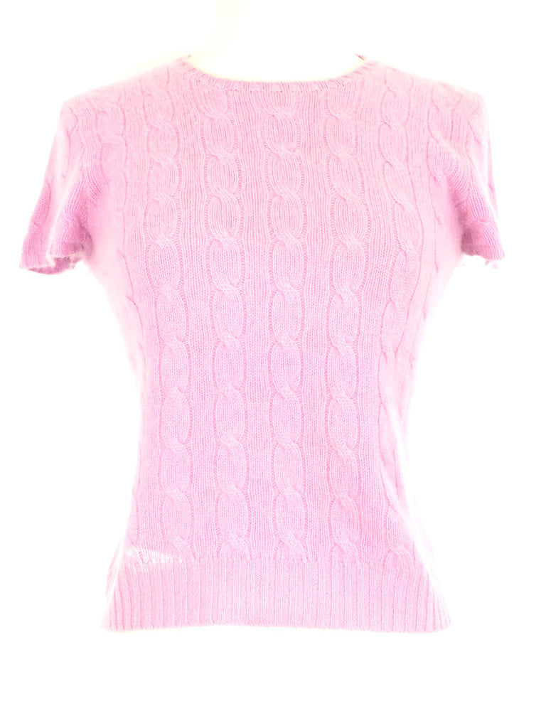 Ralph Lauren Women Pink Short Sleeve Cable Knit Crew