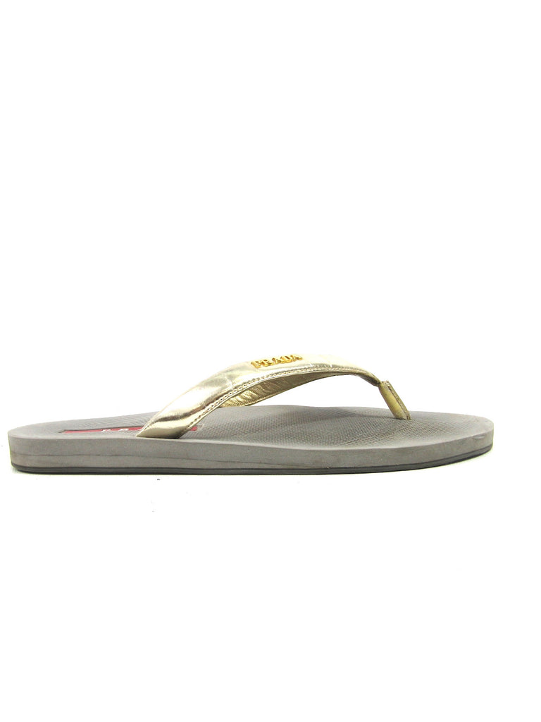 PRADA Women Silver Gold Metallic Thong Sandals Flip Flops Size 39