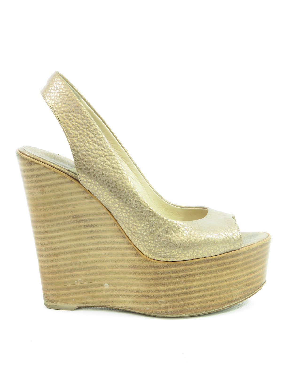 super popular 3e014 4f37f BALDAN Women Gold Peep Toe Slingback Platform Wood Wedge ...