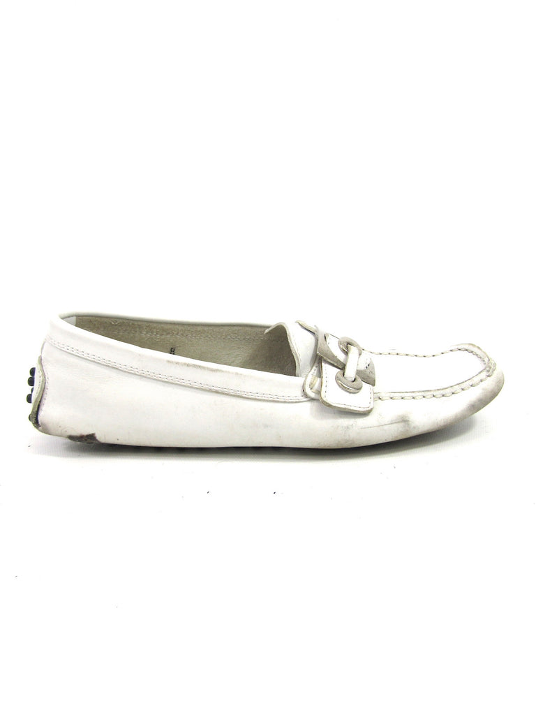 TOD'S Women White Leather Slip On Driving  Moccasin Loafers Shoes Size 8