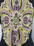 ETRO MILANO Black Multicolor Button Down Shirt Fitted Size 46 IT