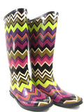 MISSONI Women Multi Color Rubber Chevron Print Knee High Rain Boots Size 1