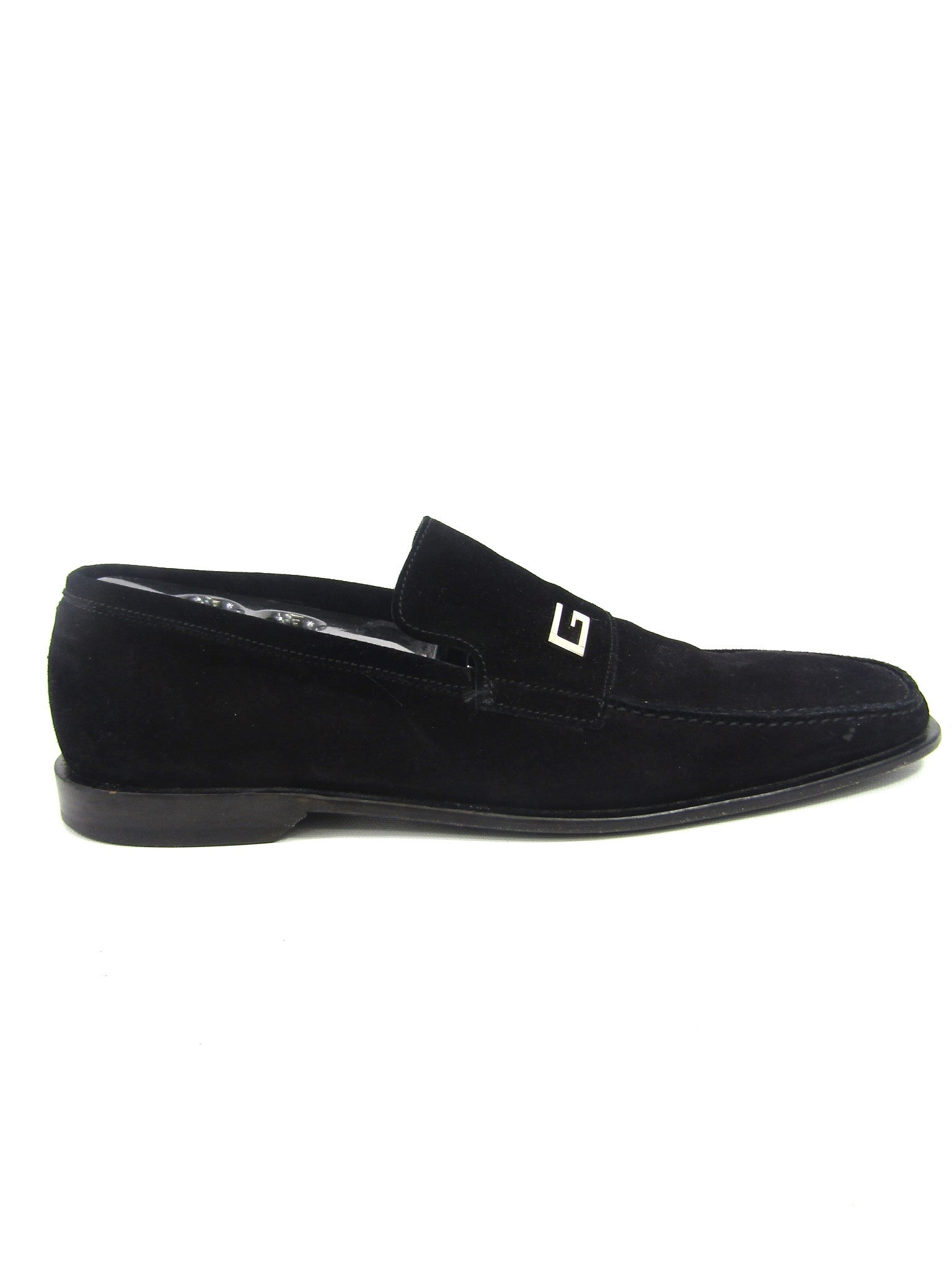 fabca0459 GUCCI Men Black Suede G Iconic Buckle Moccasin Loafers Size 10.5 D