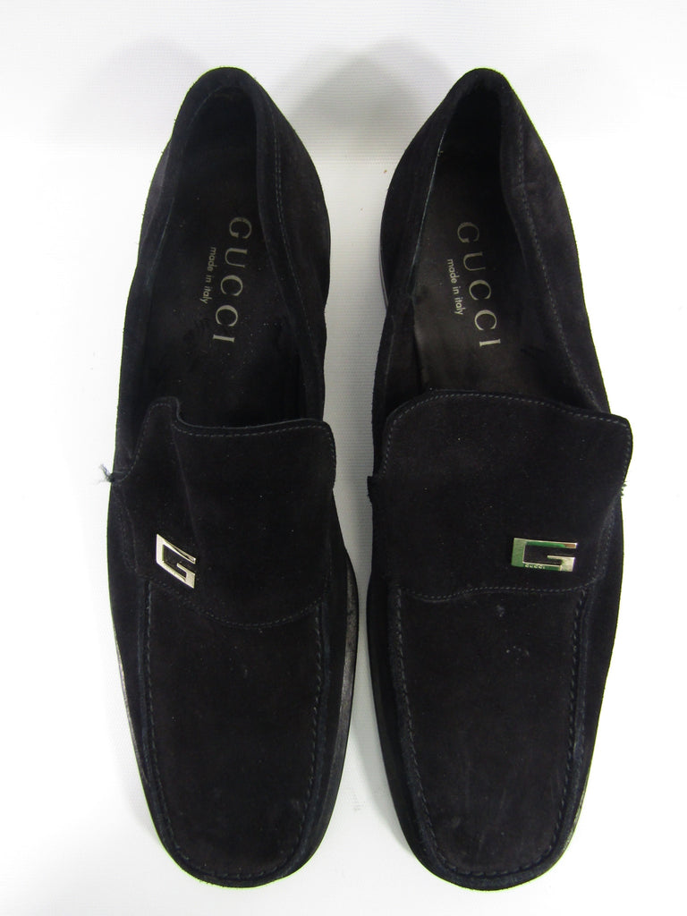 34c960785 GUCCI Men Black Suede G Iconic Buckle Moccasin Loafers Size 10.5 D
