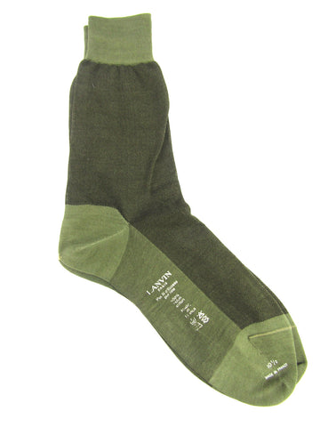 NEW! LANVIN Men Green Mid Calf Dress Socks Size 10.5