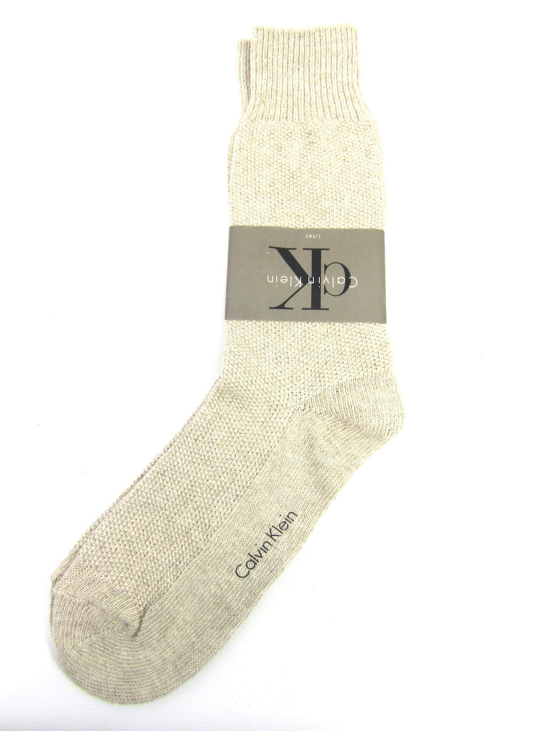 NEW! CALVIN KLEIN Men Beige Off White Mid Calf Socks Size 10-13