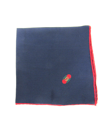 NEW! GUCCI Women Men Red Blue Silk Iconic Logo Handkerchief Accessory Pocket Square