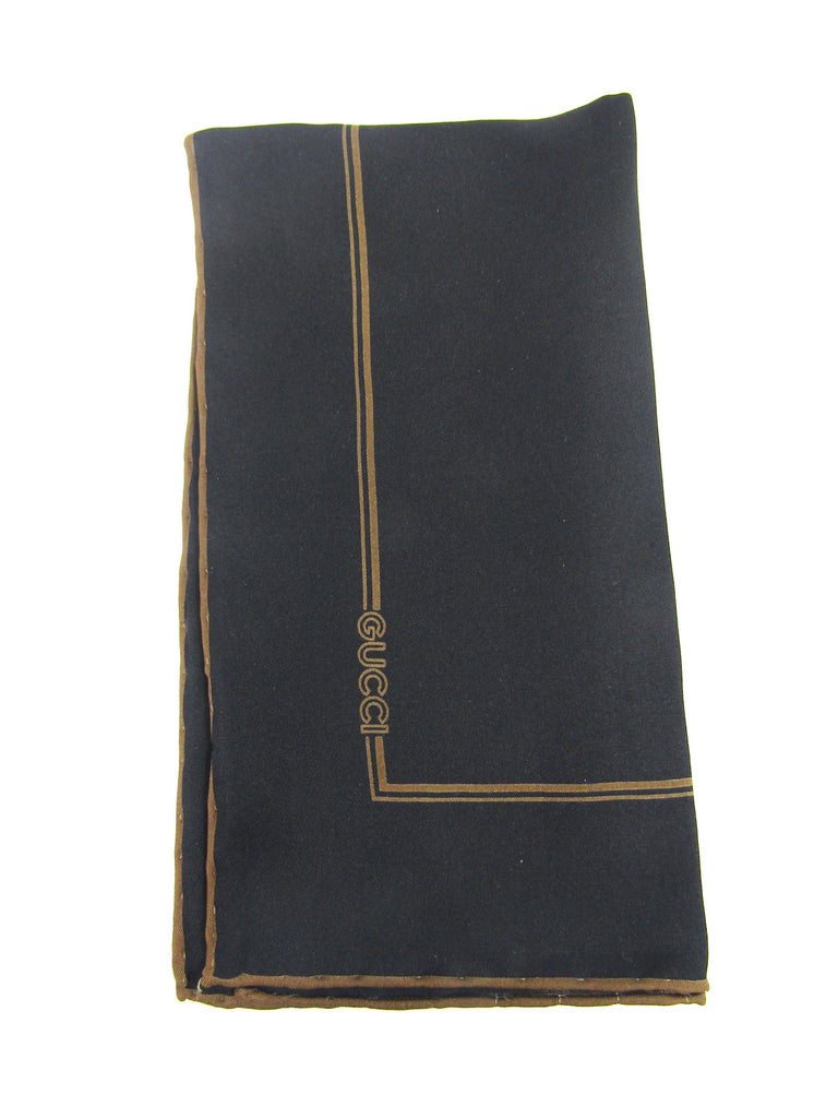 NEW! GUCCI Women Men Black Bronze Silk Logo Handkerchief Accessory Pocket Square