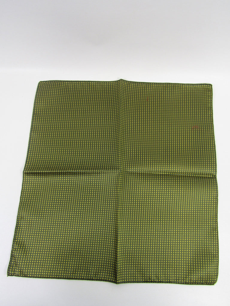 NEW! SAKS FIFTH AVENUE BY DAVID RAPPAPORT Women Men Green Yellow Silk Handkerchief Accessory Pocket Square