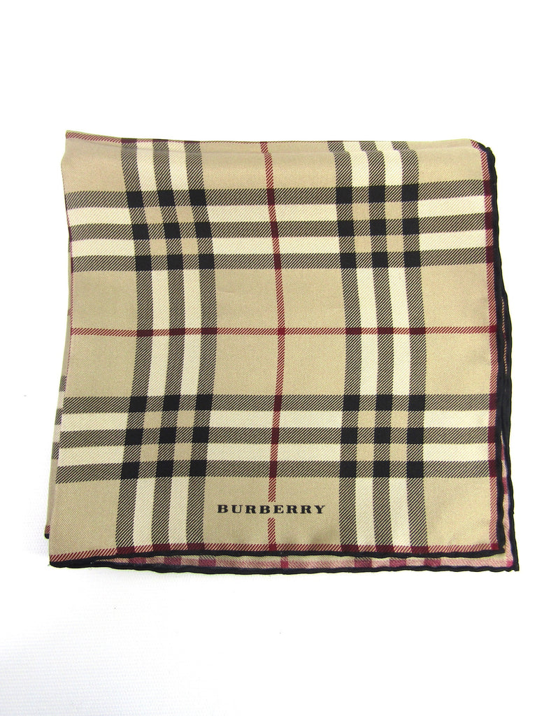 NEW! BURBERRY Women Men Brown Black Red Silk Burberry Plaid Handkerchief Accessory Pocket Square