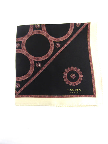 NEW! LANVIN Women Men Beige Black Red Pattern Silk Handkerchief Accessory Pocket Square