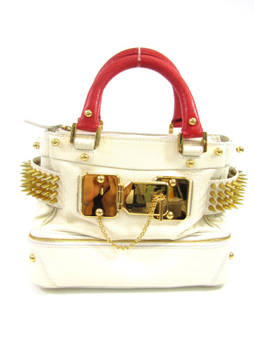 CHRISTIAN LACROIX Women Off White Red Gold Spikes Shoulder Hand Bag Purse