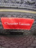 CHRISTIAN Women Black Red Gold Spikes Shoulder Hand Bag Purse