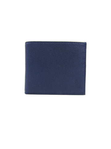 NEW! POLO RALPH LAUREN Men Blue Leather Bi Fold Wallet Accessory
