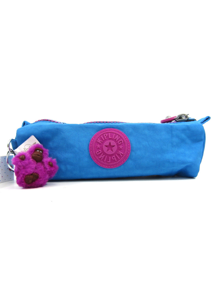 NEW! KIPLING Blue Purple Wolfe Cosmetic Pencil Case