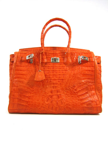 EILEEN KRAMER Women Orange Crocodile Leather Shoulder Hand Bag Purse Tote