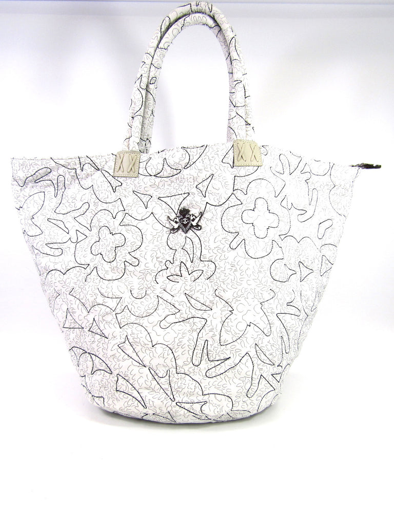 CHRISTIAN LACROIX Women Black White Canvas Tote Shoulder Hand Bag Purse