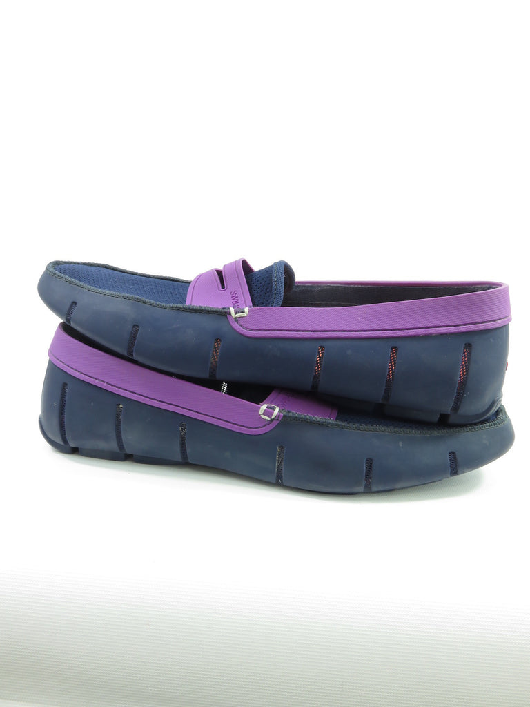 SWIMS Blue Purple Rubber Mesh Penny Loafers Water Boat ...