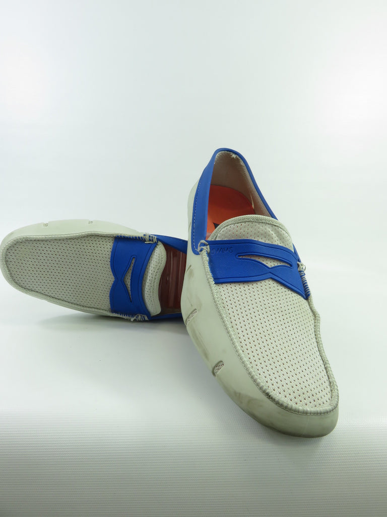 SWIMS Blue Off White Rubber Mesh Penny Loafers Moccasins ...