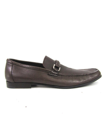 SALVATORE FERRAGAMO Men Brown Leather Slip On Moccasin Loafers Shoes 11