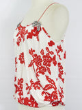 CHRISTIAN LACROIX Women Brick Red Off White Beads Spaghetti Strap Blouse Top M