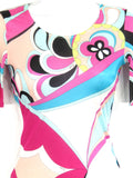 EMILIO PUCCI Women Pink Multi Color Abstract Print Leotard Top Shirt Size S