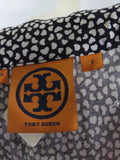 TORY BURCH Women Indigo Blue Black Sleeveless Round Neck Tie Top Blouse S