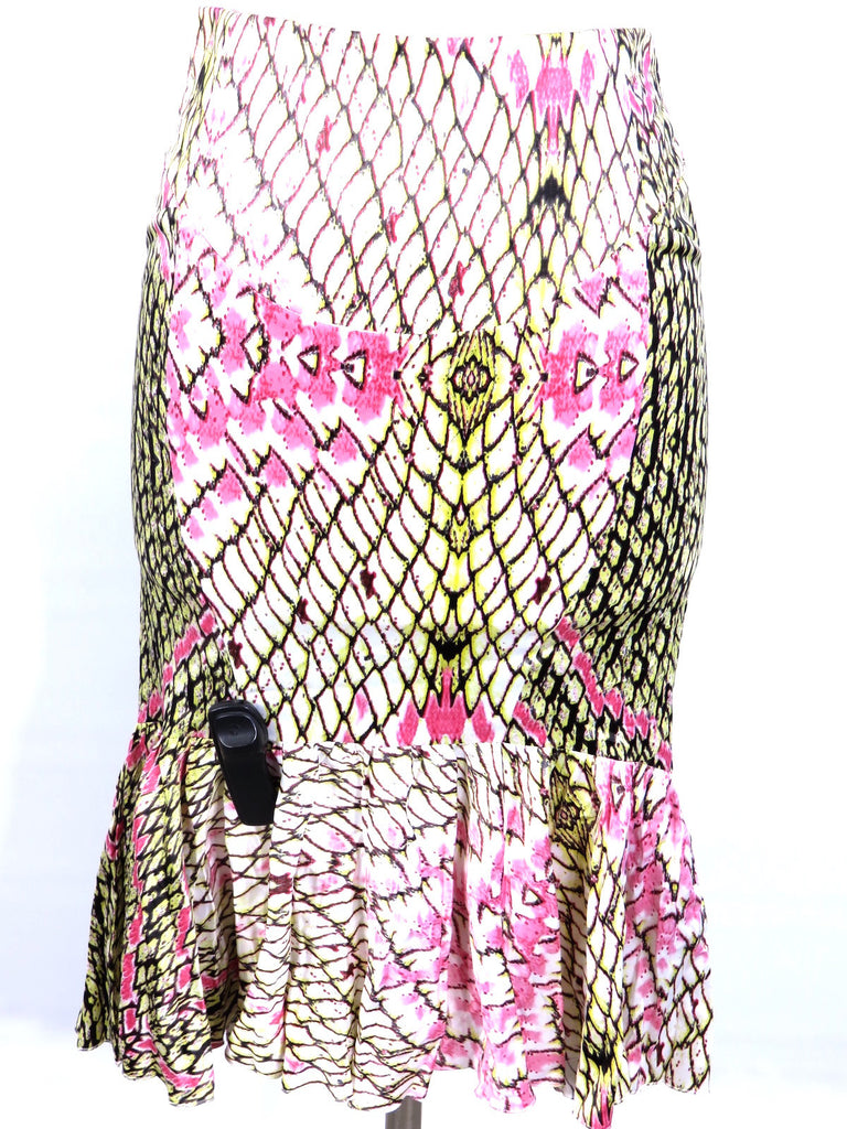 NEW! JUST CAVALLI Women Multicolor Print Ruffles Mermaid Skirt Size 42
