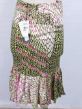 NEW! JUST CAVALLI Women Multicolor Print Ruffles Mermaid Skirt Size 40