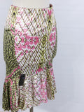 NEW! JUST CAVALLI Women Multicolor Print Ruffles Mermaid Skirt Size 38