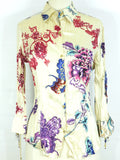 ROBERTO CAVALLI Women Beige Multi Color Design Button Down Shirt Blouse 3/4 Sleeve M