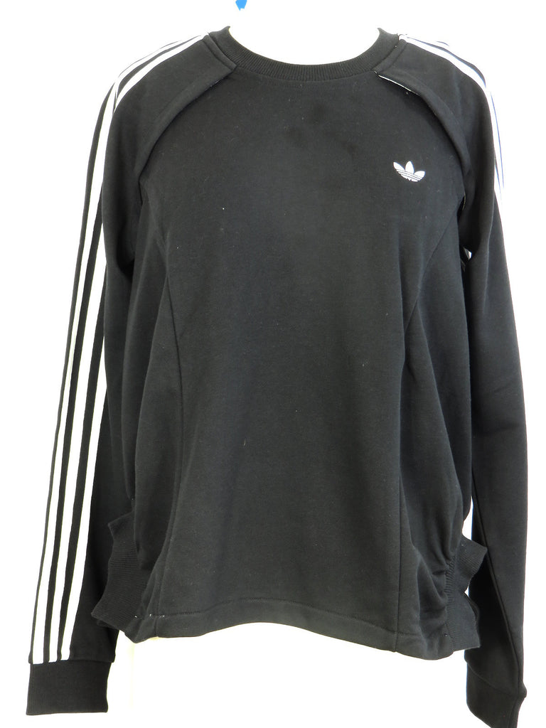 NEW! ADIDAS COUTURE Women Black White Crew Neck Open Arms Cape Back Sweatshirt M