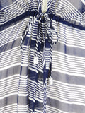 CALYPSO Women Blue White Stripes Beads Trim Sheer Tunic Cover Up Size 0